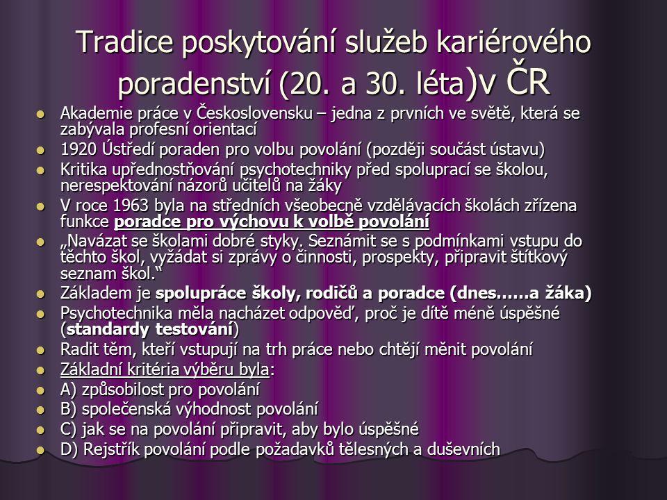 Tradice poskytování služeb kariérového poradenství (20. a 30. léta )v ČR Akademie práce v Československu – jedna z prvních ve světě, která se zabývala