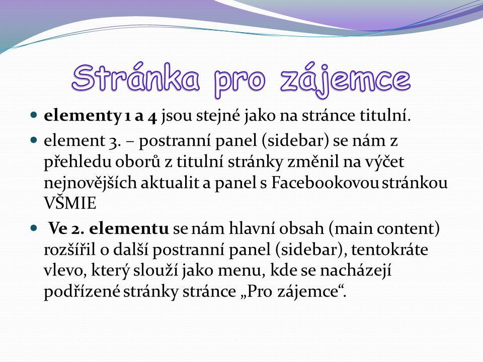 elementy 1 a 4 jsou stejné jako na stránce titulní. element 3. – postranní panel (sidebar) se nám z přehledu oborů z titulní stránky změnil na výčet n
