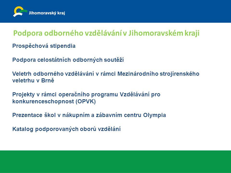 Stipendia pro žáky vybraných oborů vzdělání na školách zřizovaných JMK vyplácena od roku 2010 určena pro žáky 1.