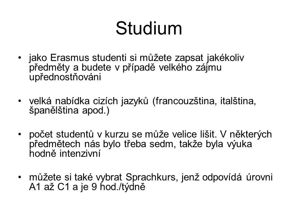 Studium jako Erasmus studenti si můžete zapsat jakékoliv předměty a budete v případě velkého zájmu upřednostňováni velká nabídka cizích jazyků (francouzština, italština, španělština apod.) počet studentů v kurzu se může velice lišit.