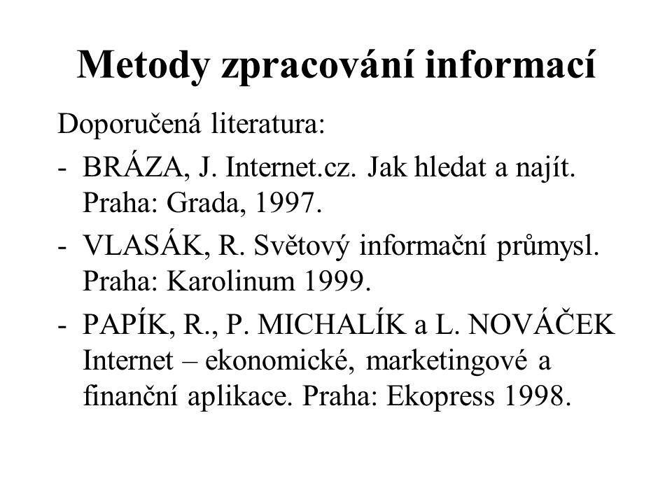 Metody zpracování informací Doporučená literatura: -BRÁZA, J. Internet.cz. Jak hledat a najít. Praha: Grada, 1997. -VLASÁK, R. Světový informační prům
