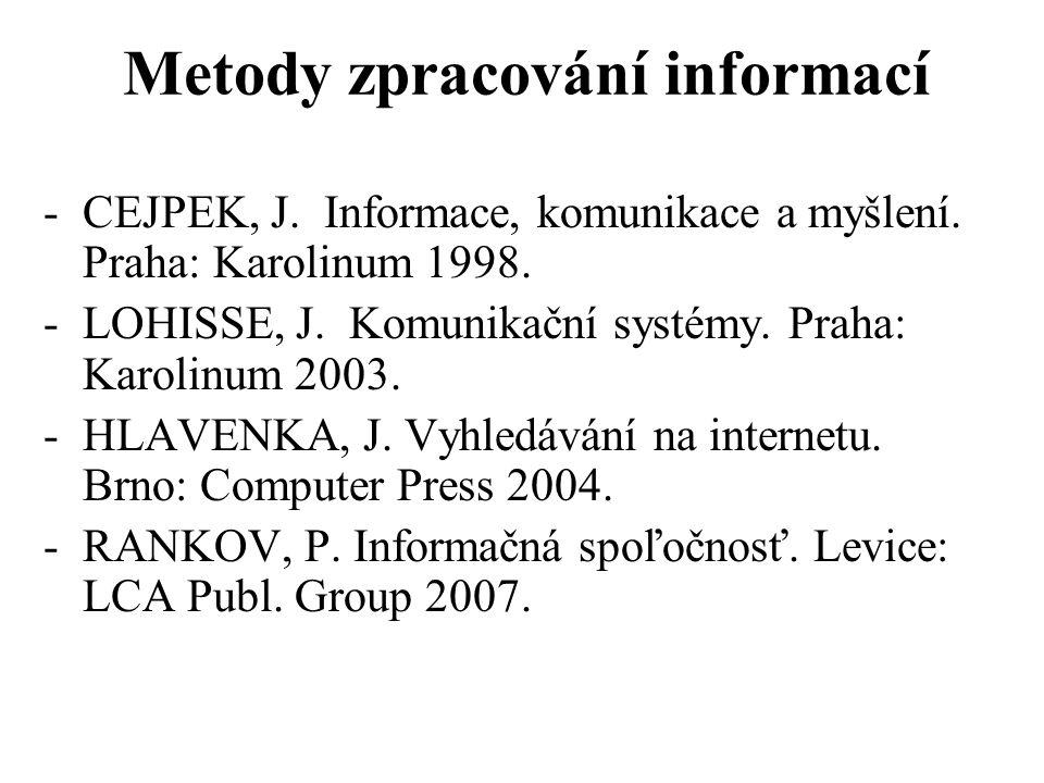 Metody zpracování informací -CEJPEK, J. Informace, komunikace a myšlení. Praha: Karolinum 1998. -LOHISSE, J. Komunikační systémy. Praha: Karolinum 200
