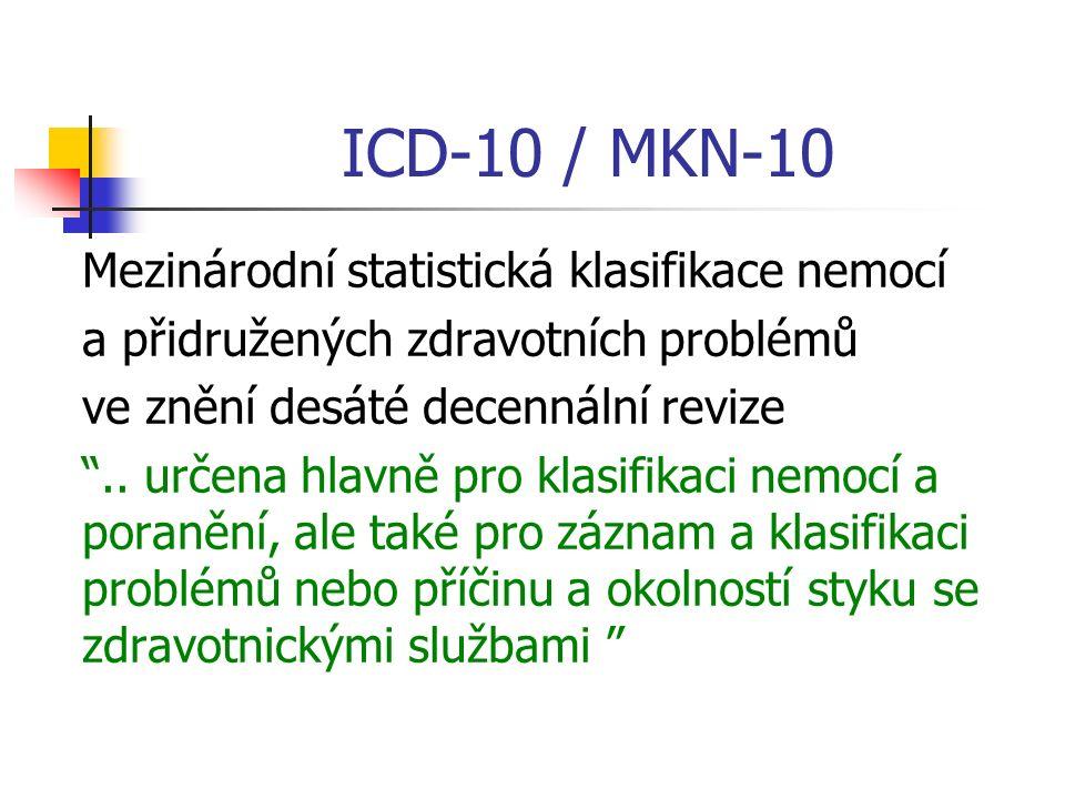 ICD-10 / MKN-10 Mezinárodní statistická klasifikace nemocí a přidružených zdravotních problémů ve znění desáté decennální revize ..
