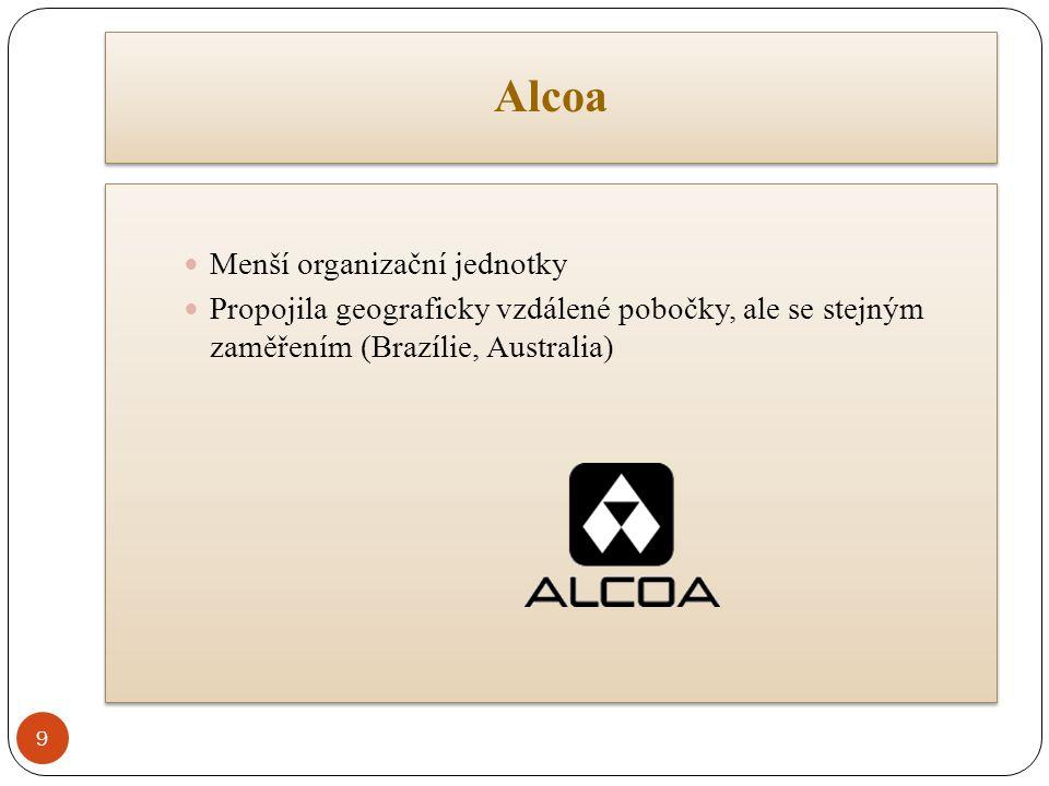 Alcoa Menší organizační jednotky Propojila geograficky vzdálené pobočky, ale se stejným zaměřením (Brazílie, Australia) Menší organizační jednotky Propojila geograficky vzdálené pobočky, ale se stejným zaměřením (Brazílie, Australia) 9