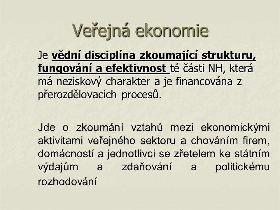 Veřejná ekonomie Je vědní disciplína zkoumající strukturu, fungování a efektivnost té části NH, která má neziskový charakter a je financována z přerozdělovacích procesů.