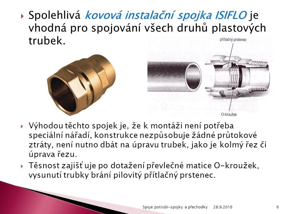kovová instalační spojka ISIFLO  Spolehlivá kovová instalační spojka ISIFLO je vhodná pro spojování všech druhů plastových trubek.
