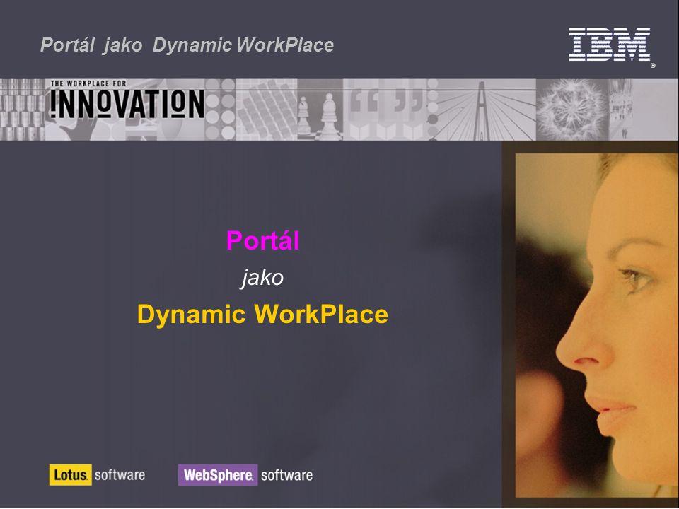 Portál jako Dynamic WorkPlace CRM, ERP - SAP, Financials Obchodní procesy Workflows Content Management Lotus BI, Data Warehouse HR - personalistika E-Learning E-procurement Elektronické tržiště E-Mail Obchodní portály Personalizovaný Integrovaný Efektivní přístup single sign-on Podle profilů Bezpečnost