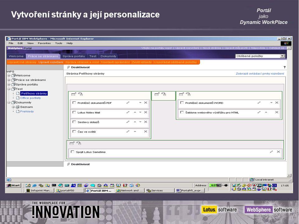 Portál jako Dynamic WorkPlace Vytvoření stránky a její personalizace
