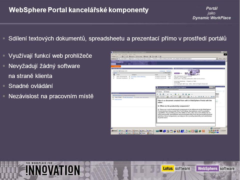 Portál jako Dynamic WorkPlace WebSphere Portal kancelářské komponenty  Sdílení textových dokumentů, spreadsheetu a prezentací přímo v prostředí portálů  Využívají funkcí web prohlížeče  Nevyžadují žádný software na straně klienta  Snadné ovládání  Nezávislost na pracovním místě