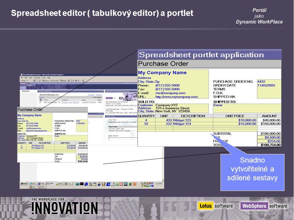 Portál jako Dynamic WorkPlace Spreadsheet editor ( tabulkový editor) a portlet Snadno vytvořitelné a sdílené sestavy
