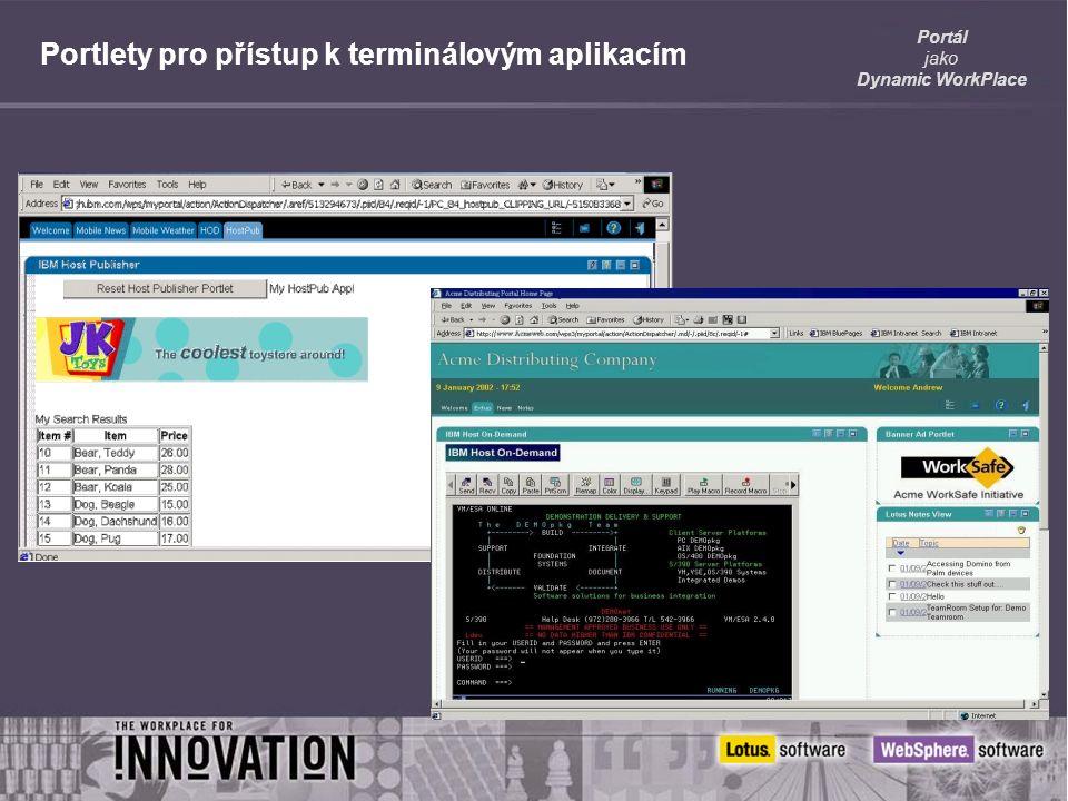 Portál jako Dynamic WorkPlace Portlety pro přístup k terminálovým aplikacím
