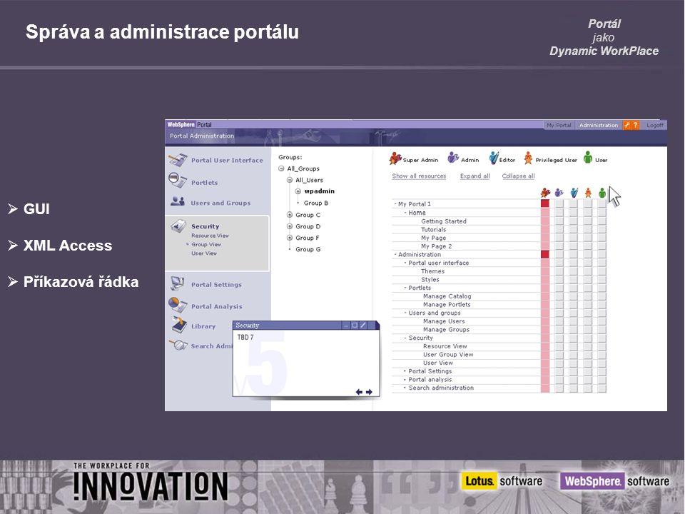 Portál jako Dynamic WorkPlace Správa a administrace portálu  GUI  XML Access  Příkazová řádka