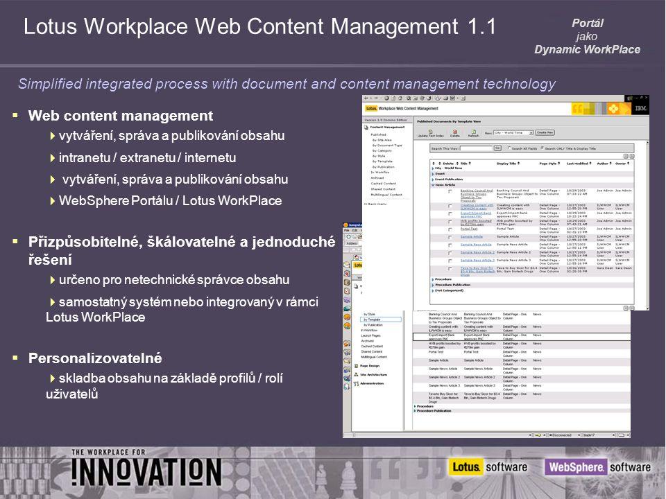 Portál jako Dynamic WorkPlace Lotus Workplace Web Content Management 1.1  Web content management  vytváření, správa a publikování obsahu  intranetu / extranetu / internetu  vytváření, správa a publikování obsahu  WebSphere Portálu / Lotus WorkPlace  Přizpůsobitelné, škálovatelné a jednoduché řešení  určeno pro netechnické správce obsahu  samostatný systém nebo integrovaný v rámci Lotus WorkPlace  Personalizovatelné  skladba obsahu na základě profilů / rolí uživatelů Simplified integrated process with document and content management technology
