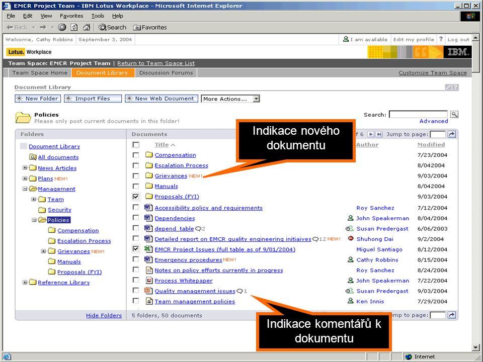 Portál jako Dynamic WorkPlace Indikace nového dokumentu Indikace komentářů k dokumentu