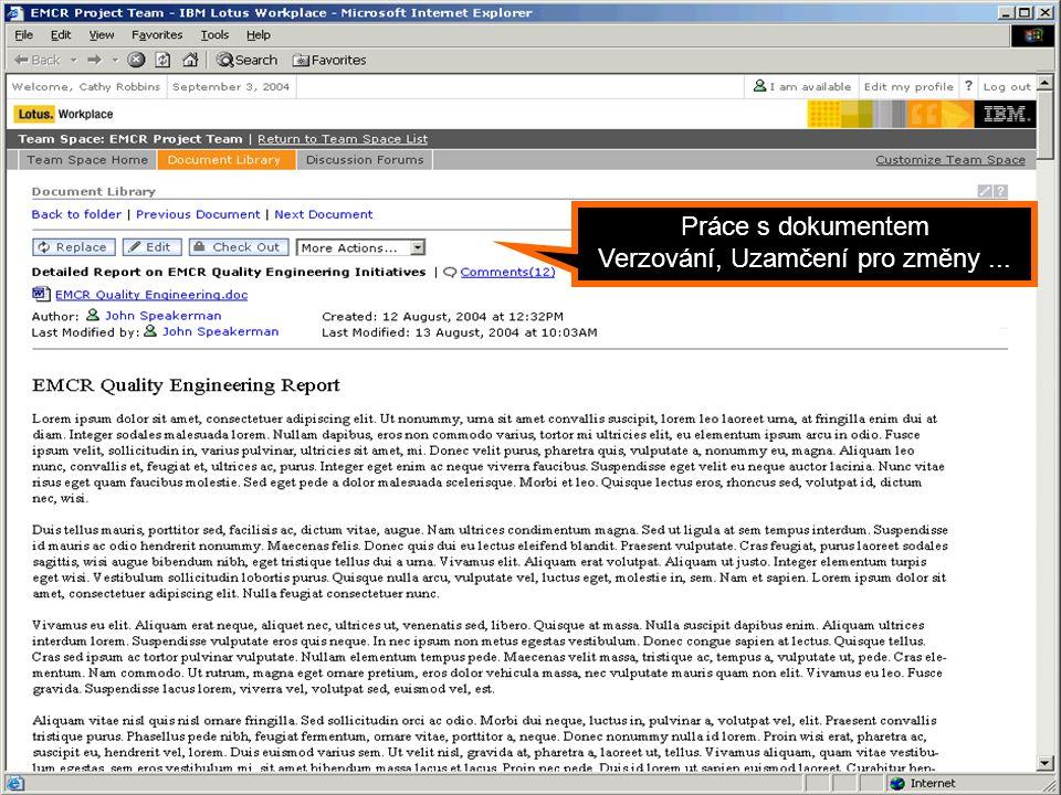 Portál jako Dynamic WorkPlace Práce s dokumentem Verzování, Uzamčení pro změny...