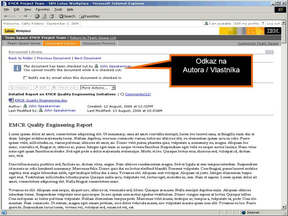 Portál jako Dynamic WorkPlace Odkaz na Autora / Vlastníka