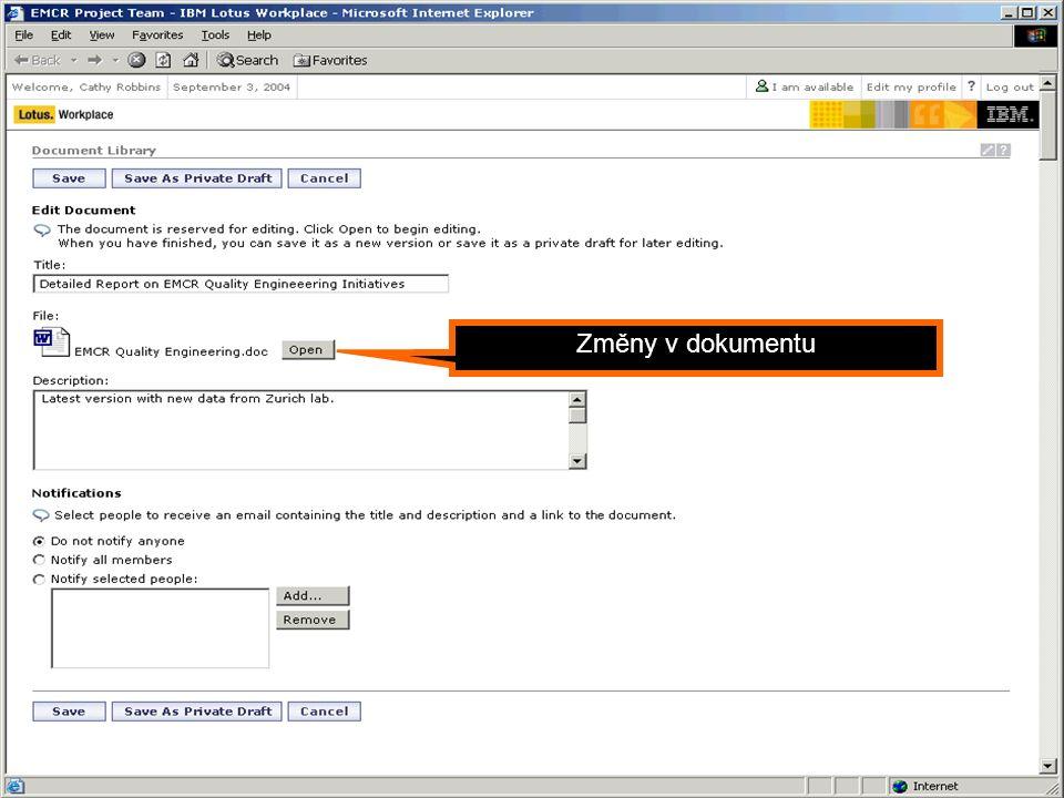 Portál jako Dynamic WorkPlace Změny v dokumentu