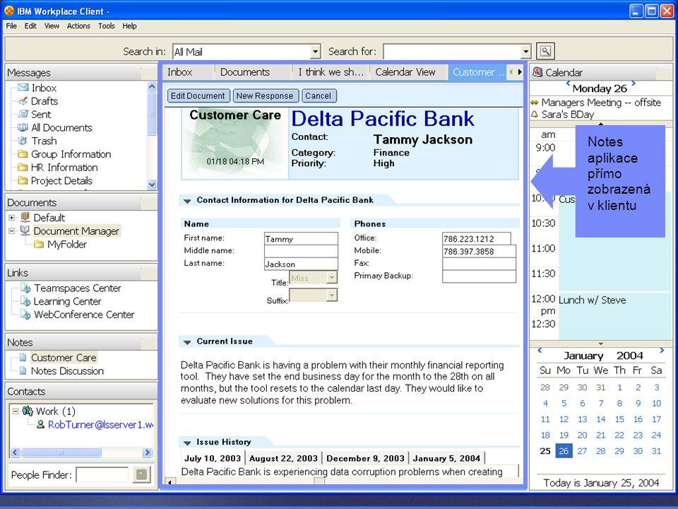 Portál jako Dynamic WorkPlace Notes aplikace přímo zobrazená v klientu