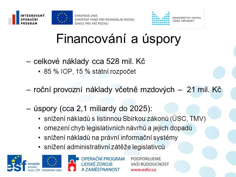 Financování a úspory –celkové náklady cca 528 mil. Kč 85 % IOP, 15 % státní rozpočet –roční provozní náklady včetně mzdových – 21 mil. Kč –úspory (cca