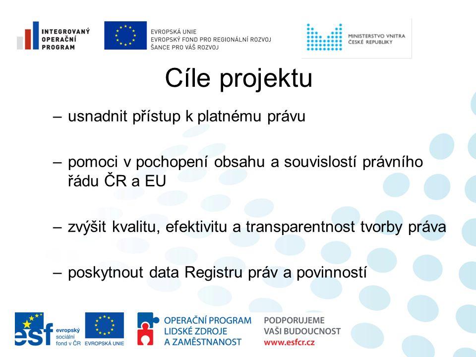 Cíle projektu –usnadnit přístup k platnému právu –pomoci v pochopení obsahu a souvislostí právního řádu ČR a EU –zvýšit kvalitu, efektivitu a transpar