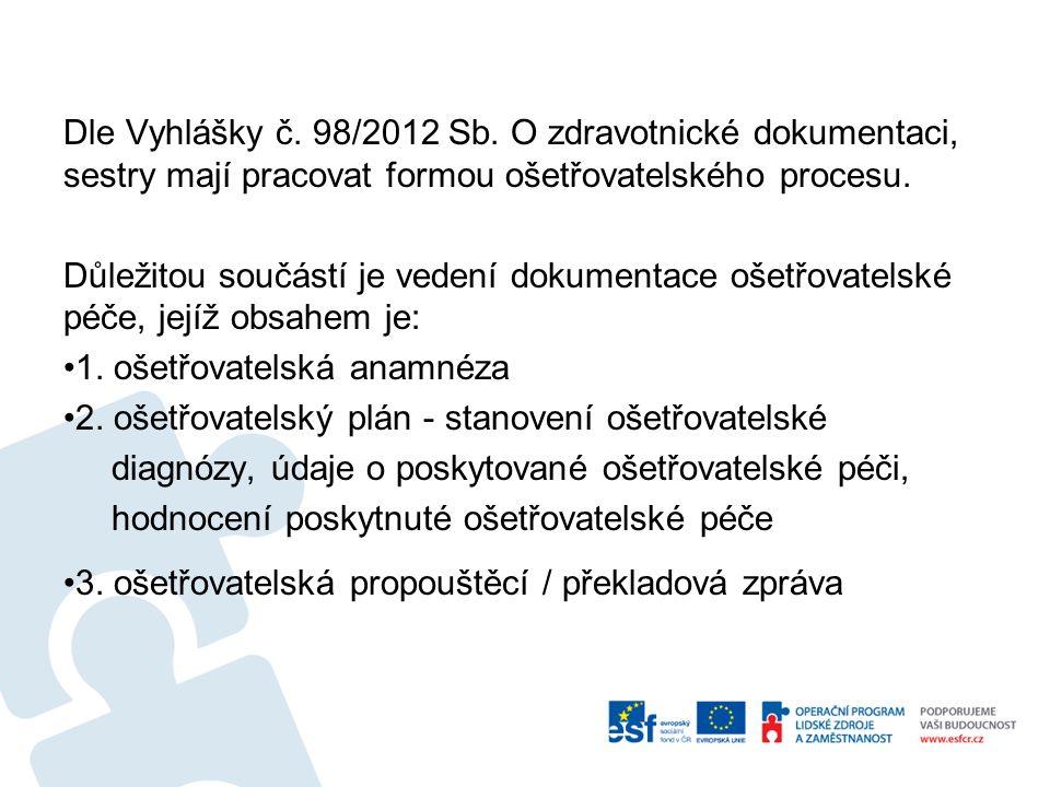 Dle Vyhlášky č.98/2012 Sb.