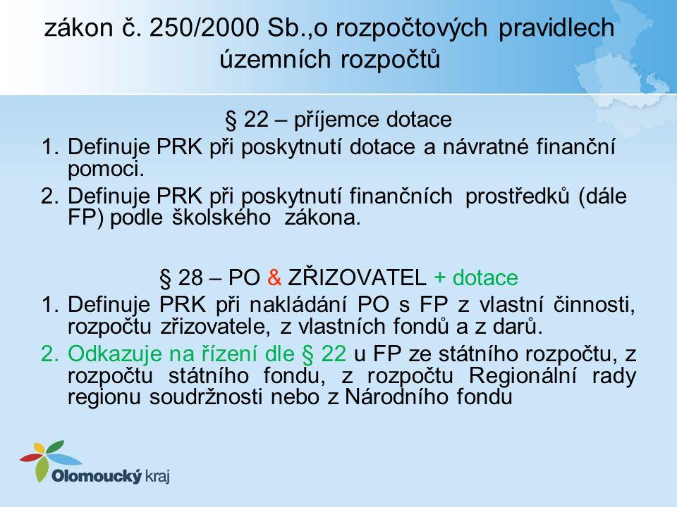 zákon č. 250/2000 Sb.,o rozpočtových pravidlech územních rozpočtů § 22 – příjemce dotace 1.Definuje PRK při poskytnutí dotace a návratné finanční pomo