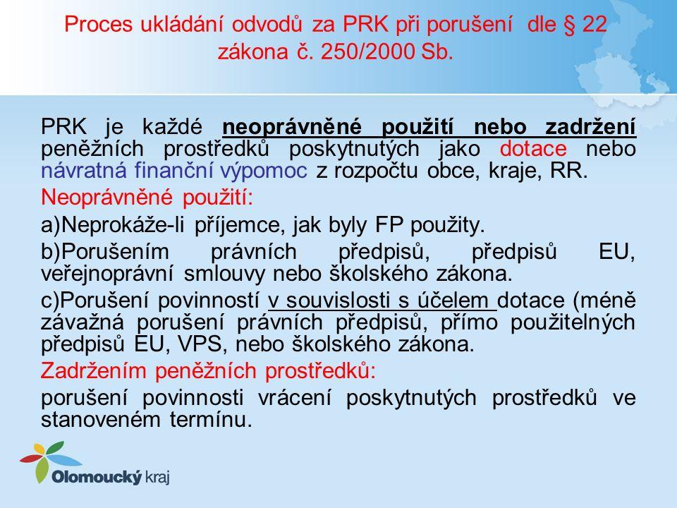Proces ukládání odvodů za PRK při porušení dle § 22 zákona č. 250/2000 Sb. PRK je každé neoprávněné použití nebo zadržení peněžních prostředků poskytn