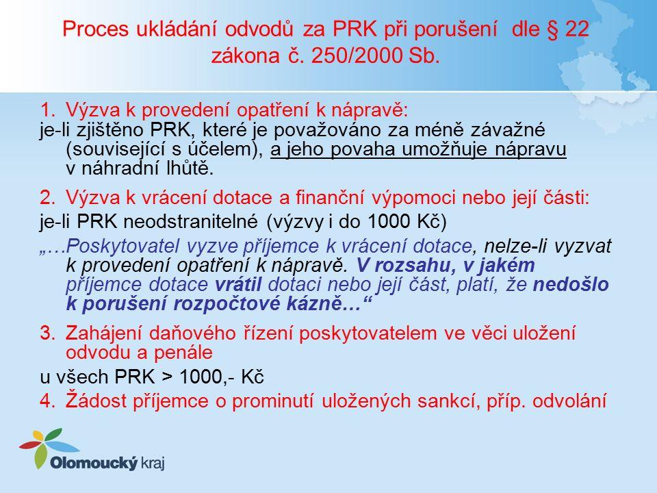 Proces ukládání odvodů za PRK při porušení dle § 22 zákona č. 250/2000 Sb. 1.Výzva k provedení opatření k nápravě: je-li zjištěno PRK, které je považo
