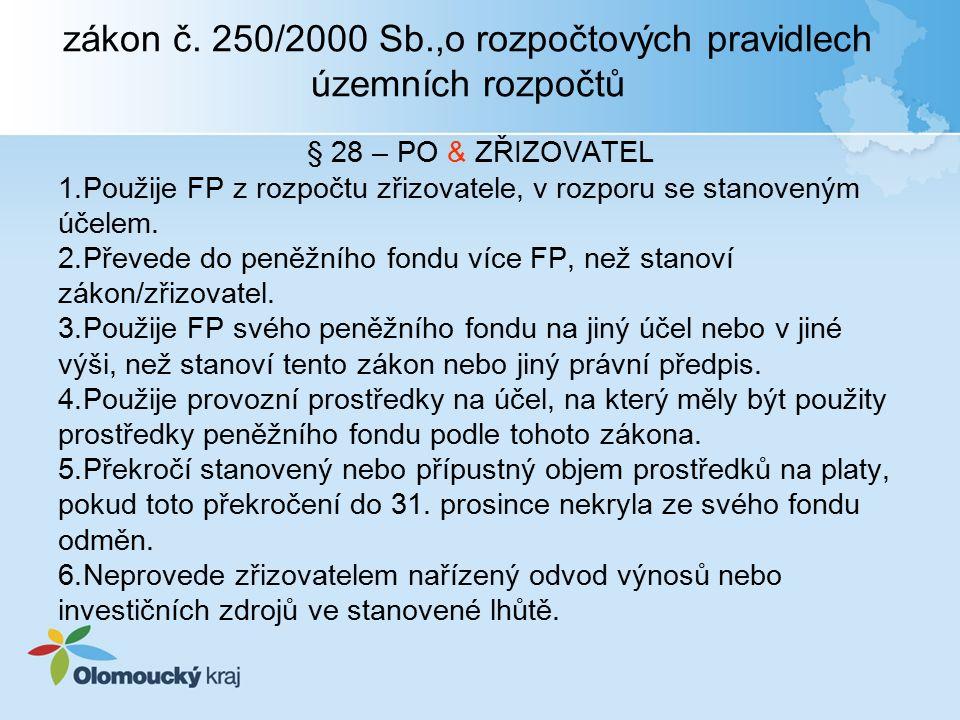 zákon č. 250/2000 Sb.,o rozpočtových pravidlech územních rozpočtů § 28 – PO & ZŘIZOVATEL 1.Použije FP z rozpočtu zřizovatele, v rozporu se stanoveným