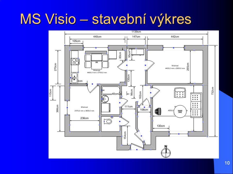 10 MS Visio – stavební výkres