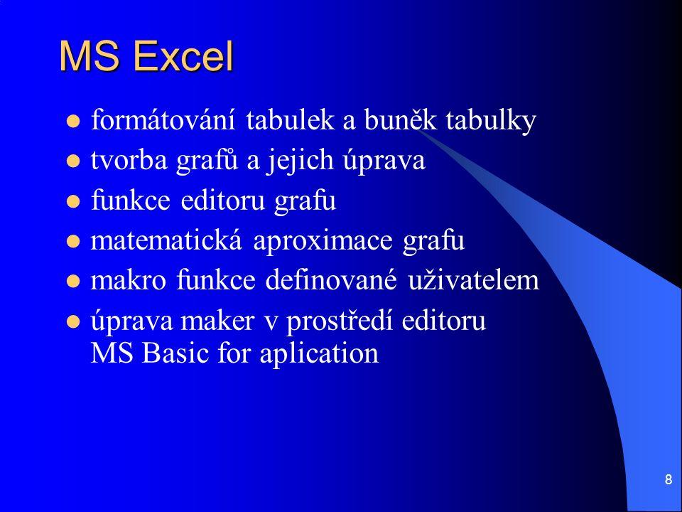 8 MS Excel formátování tabulek a buněk tabulky tvorba grafů a jejich úprava funkce editoru grafu matematická aproximace grafu makro funkce definované uživatelem úprava maker v prostředí editoru MS Basic for aplication