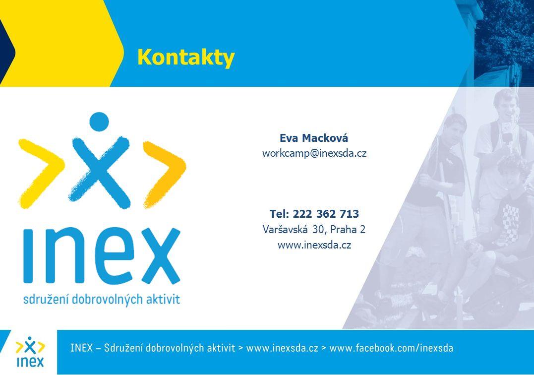 Kontakty Eva Macková workcamp@inexsda.cz Tel: 222 362 713 Varšavská 30, Praha 2 www.inexsda.cz