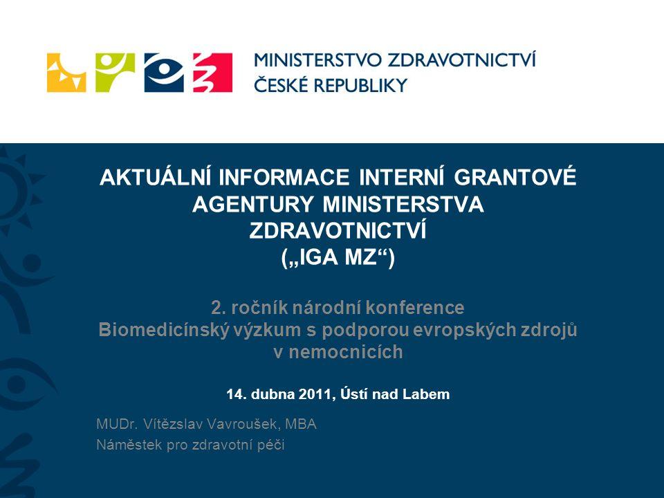 """AKTUÁLNÍ INFORMACE INTERNÍ GRANTOVÉ AGENTURY MINISTERSTVA ZDRAVOTNICTVÍ (""""IGA MZ ) 2."""