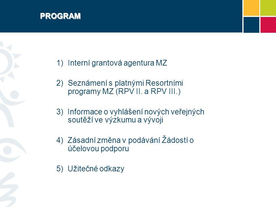 PROGRAM  Interní grantová agentura MZ 2)Seznámení s platnými Resortními programy MZ (RPV II.