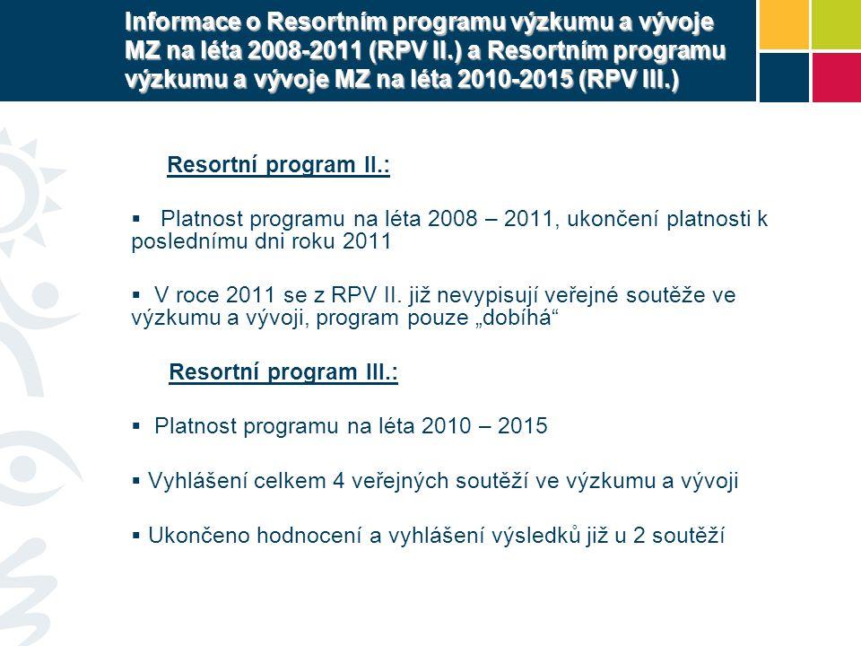 Informace o Resortním programu výzkumu a vývoje MZ na léta 2008-2011 (RPV II.) a Resortním programu výzkumu a vývoje MZ na léta 2010-2015 (RPV III.) Resortní program II.:  Platnost programu na léta 2008 – 2011, ukončení platnosti k poslednímu dni roku 2011  V roce 2011 se z RPV II.