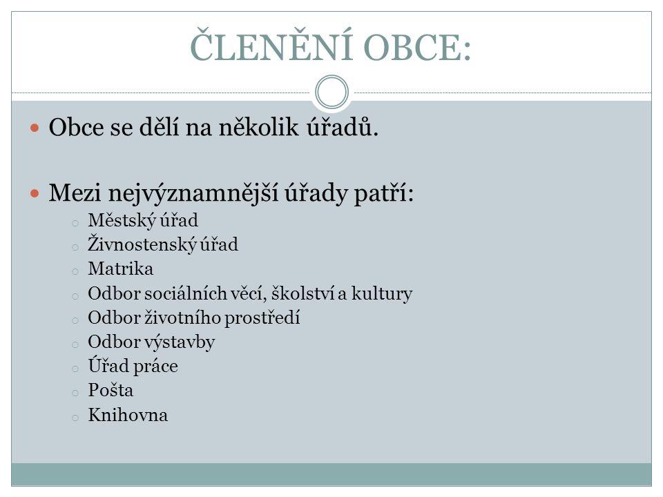 ČLENĚNÍ OBCE: Obce se dělí na několik úřadů.