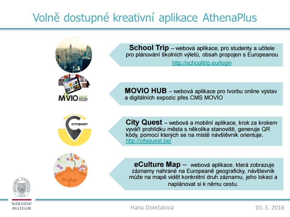 Volně dostupné kreativní aplikace AthenaPlus Hana Doležalová10. 5. 2016