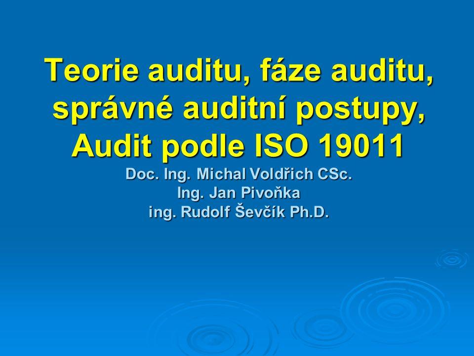 Definice auditu   Audio – audire naslouchat   Auditor je přítel   Porovnání stavu se standardem, (norma, podniková norma, legislativa apod.)   Hodnocení stavu bez návodu řešení
