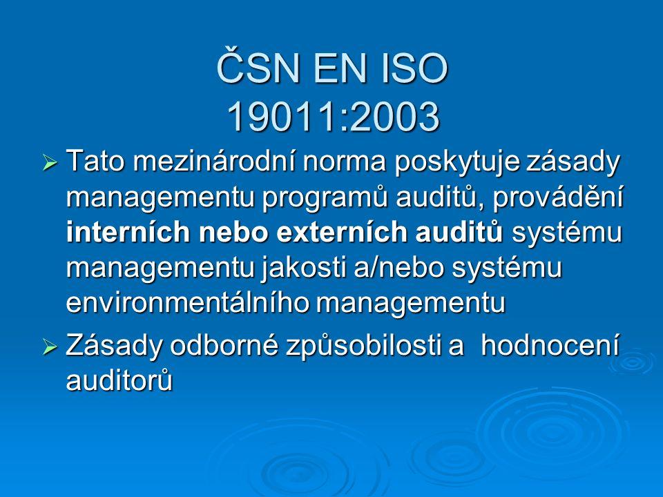 ČSN EN ISO 19011:2003  Tato mezinárodní norma poskytuje zásady managementu programů auditů, provádění interních nebo externích auditů systému managementu jakosti a/nebo systému environmentálního managementu  Zásady odborné způsobilosti a hodnocení auditorů