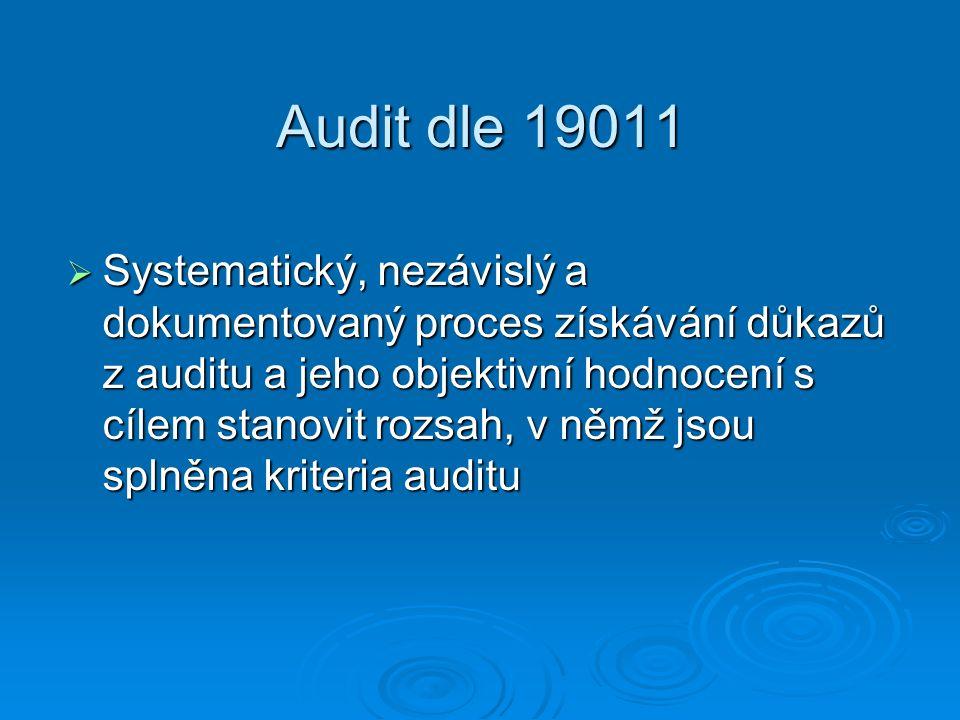 Audit dle 19011  Systematický, nezávislý a dokumentovaný proces získávání důkazů z auditu a jeho objektivní hodnocení s cílem stanovit rozsah, v němž jsou splněna kriteria auditu