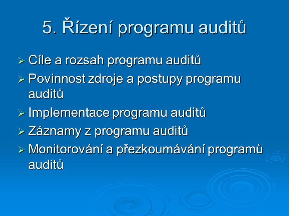 5. Řízení programu auditů  Cíle a rozsah programu auditů  Povinnost zdroje a postupy programu auditů  Implementace programu auditů  Záznamy z prog