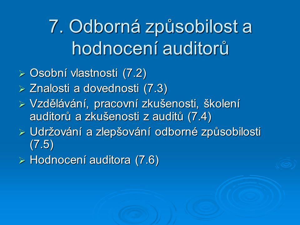 7. Odborná způsobilost a hodnocení auditorů  Osobní vlastnosti (7.2)  Znalosti a dovednosti (7.3)  Vzdělávání, pracovní zkušenosti, školení auditor