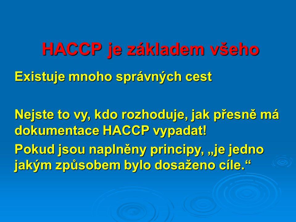 HACCP je základem všeho Existuje mnoho správných cest Nejste to vy, kdo rozhoduje, jak přesně má dokumentace HACCP vypadat.
