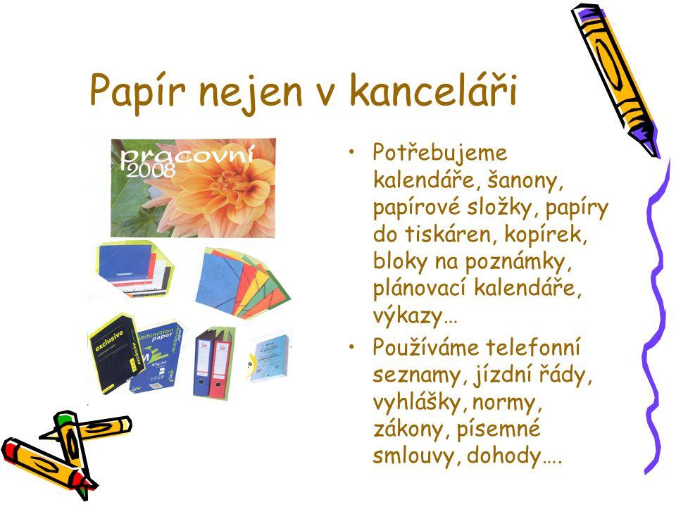 Papír v domácnosti Potraviny, spotřební zboží jsou zabaleny v papírových obalech (v tom lepším případě), v nápojových kartonech, v krabicích z lepenky