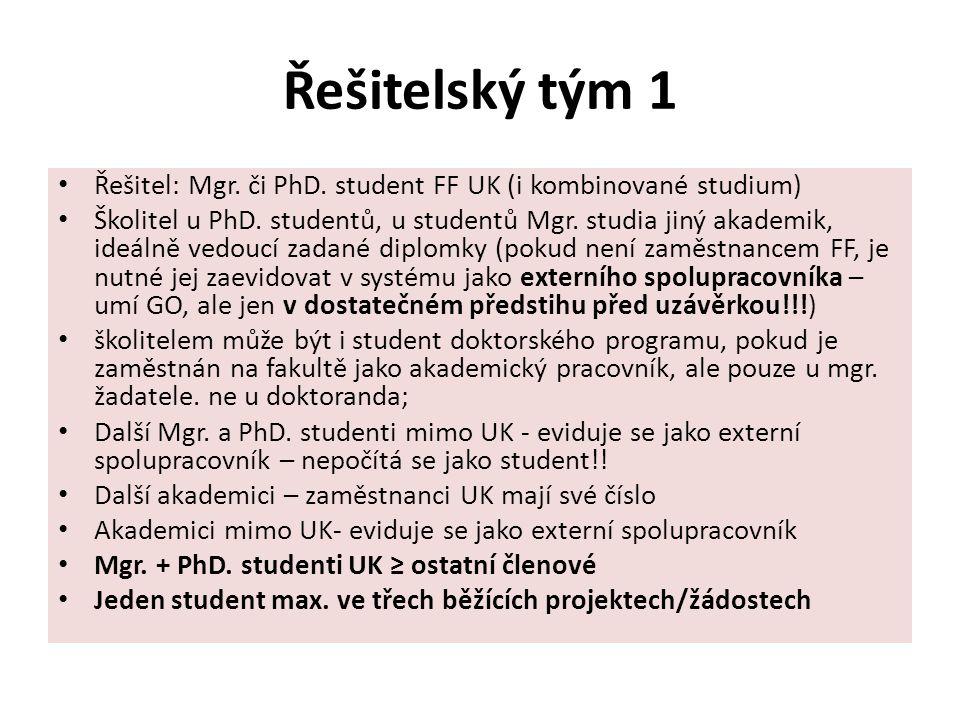 Řešitelský tým 1 Řešitel: Mgr. či PhD. student FF UK (i kombinované studium) Školitel u PhD.