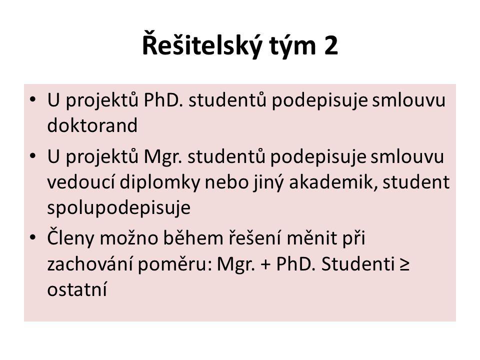 Řešitelský tým 2 U projektů PhD. studentů podepisuje smlouvu doktorand U projektů Mgr.