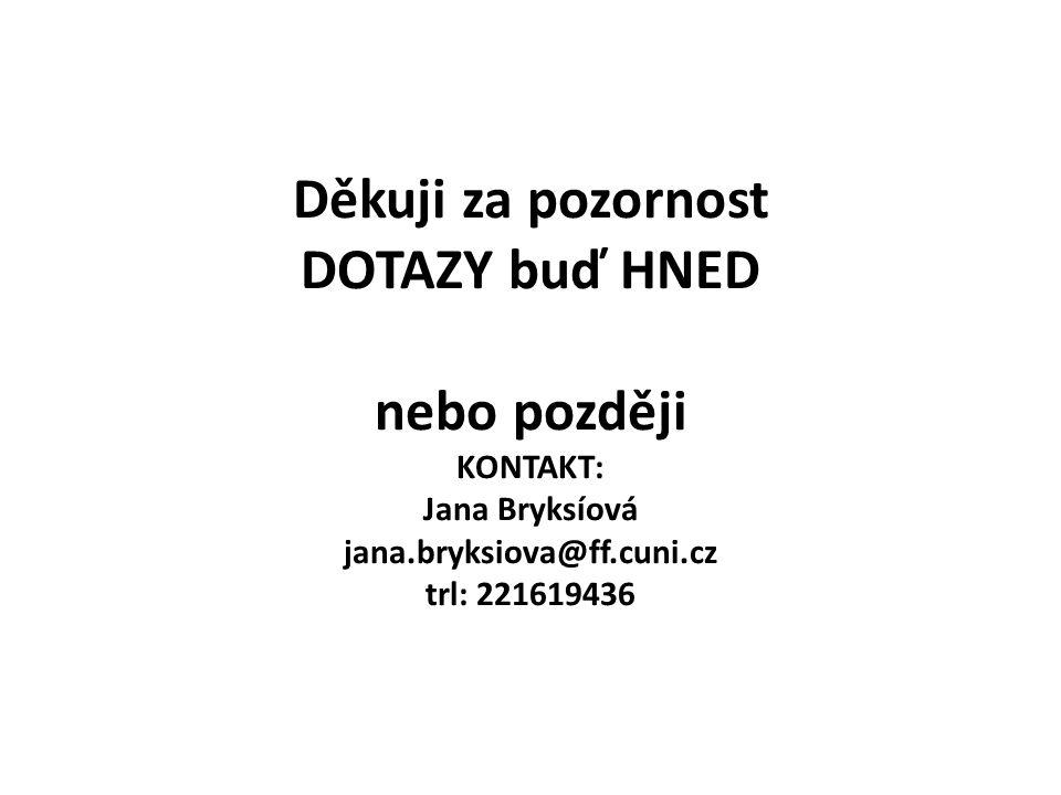 Děkuji za pozornost DOTAZY buď HNED nebo později KONTAKT: Jana Bryksíová jana.bryksiova@ff.cuni.cz trl: 221619436