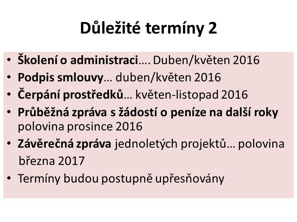 Důležité termíny 2 Školení o administraci….