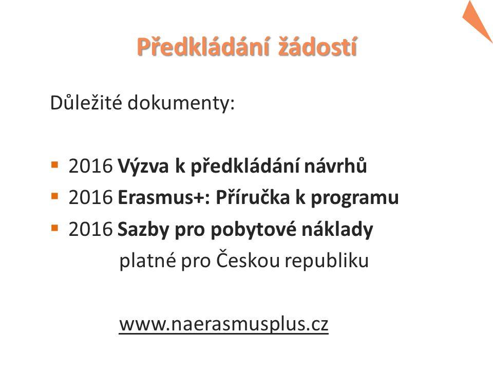 Předkládání žádostí Důležité dokumenty:  2016 Výzva k předkládání návrhů  2016 Erasmus+: Příručka k programu  2016 Sazby pro pobytové náklady platné pro Českou republiku www.naerasmusplus.cz