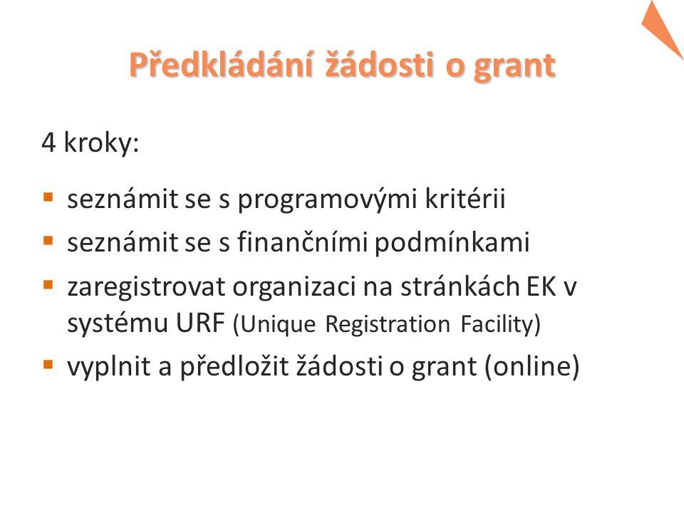 Předkládání žádosti o grant 4 kroky:  seznámit se s programovými kritérii  seznámit se s finančními podmínkami  zaregistrovat organizaci na stránkách EK v systému URF (Unique Registration Facility)  vyplnit a předložit žádosti o grant (online)